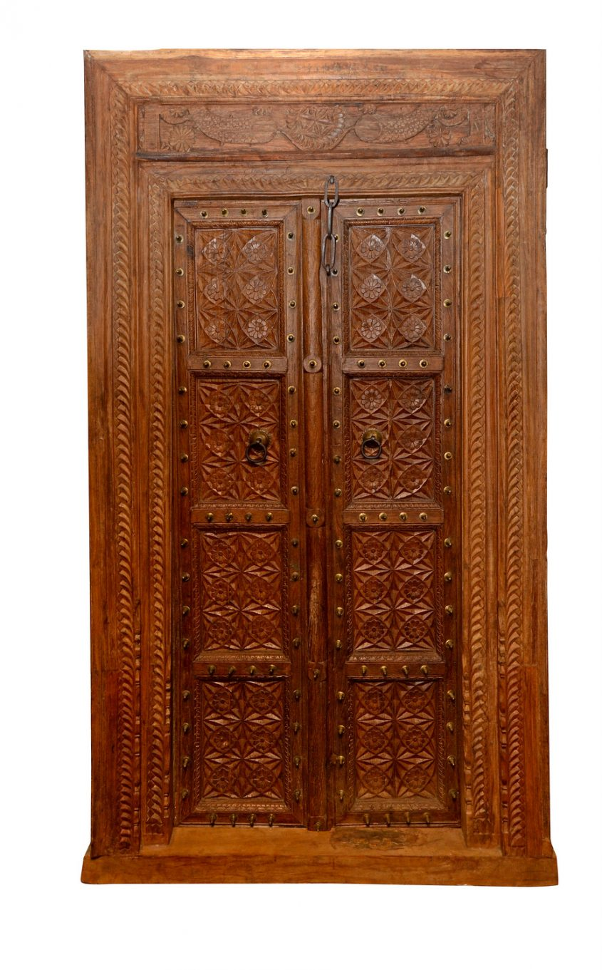 Porte double antique en bois for Double porte en bois