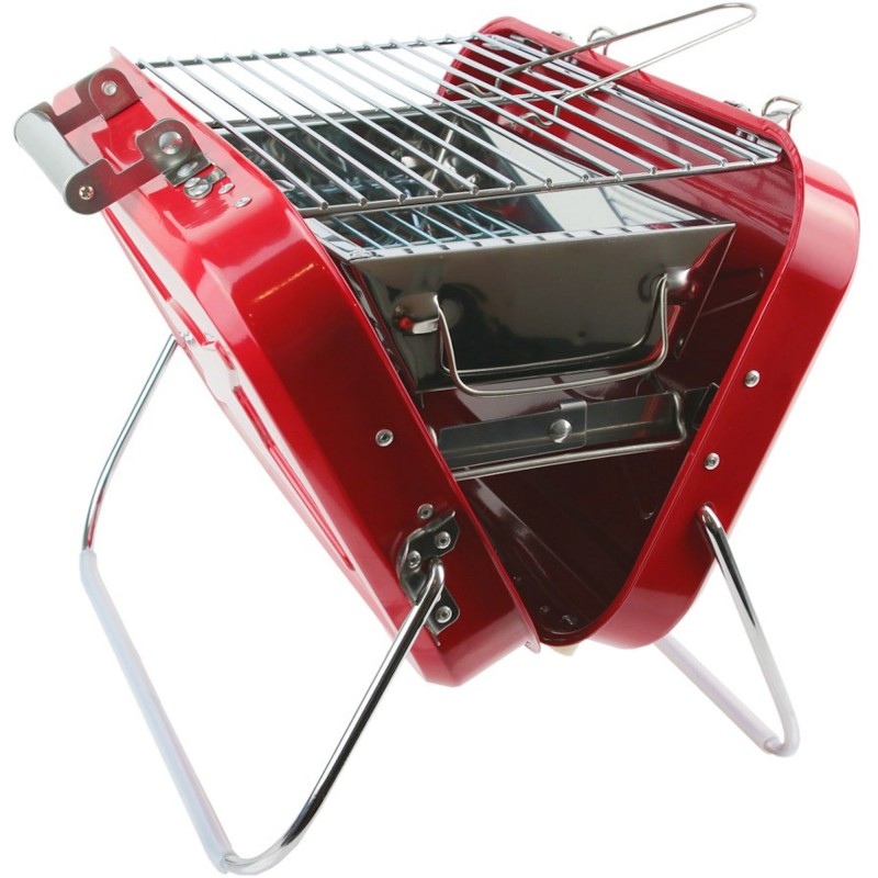 portable charcoal barbecue red suitcase. Black Bedroom Furniture Sets. Home Design Ideas