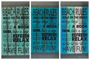 "Panneau ""Beach Rules"" en bois - FOR18"