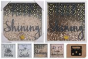 Wall decoration with text and glitter