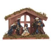 Crèche de Noël en bois avec 6 santons