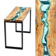 Table et console avec rivière de verre